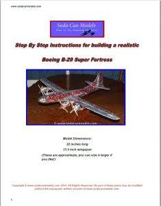 Coke Can airplane Boeing B-29 plans