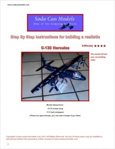 Aluminum can airplane C-130 Hercules plans