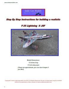 Aluminum can airplane F-35 Lightning plans